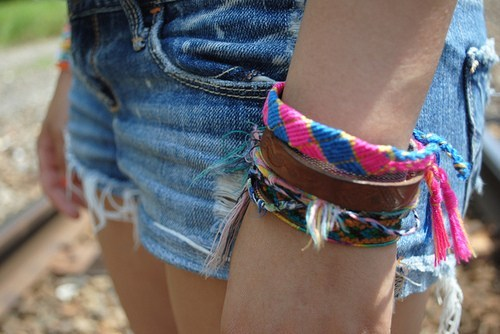 braclet, bright, colourful, cotton, denim