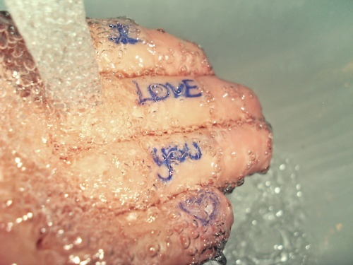 bubble, hand, heart, i love you, water
