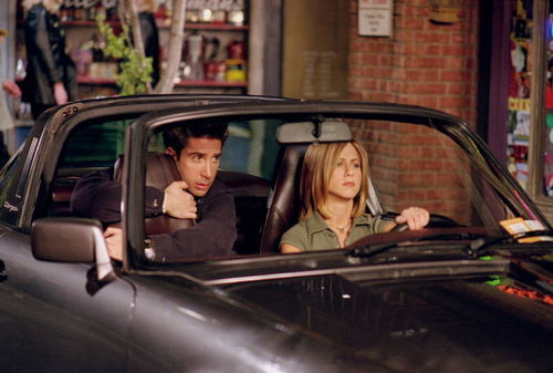 car, friends, rachel and ross, rachel green, ross geller
