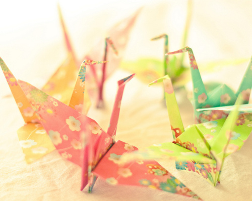 colorful, cranes, origami, wish