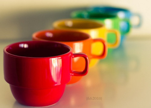 cups, mugs, rainbow