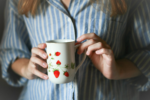 cute, hair, hands, inmyownview, mug, pajamas, photography, separate with comma, strawberries, striped, t-shirt