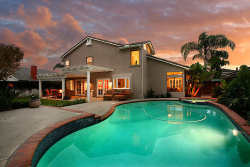 house, luxury, mansion, nice, night, palm trees, pool, summer