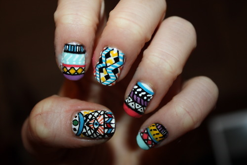 jorika, nail art, nails, tribal