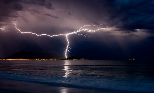 lightning, ocean, photography, rain, thunderstorm