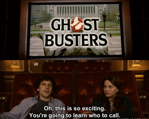 abigail breslin, funny, ghost busters, jesse eisenberg, zombie land, zombieland