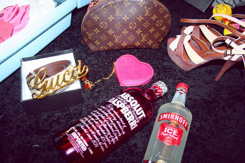 absolut, alcohol, designer, gucci, heels, liquor, louis vuitton, shoes, smirnoff
