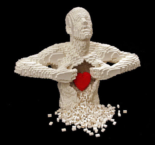 air, amazing, art, artwork, heart, lego, legos, love, photography, red, sculpture, white
