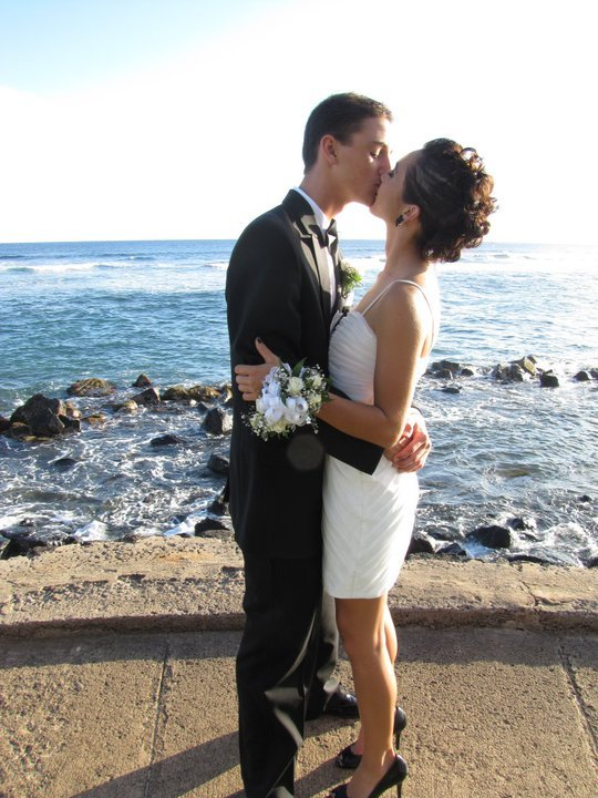 amazing, black, cement, couple, curls, dress, flower, hair, hair style, happy, hawaii, heels, kauai, kiss, love, ocean, pacific, perfect, pleated, prom, rocks, romantic, tux, waves, white