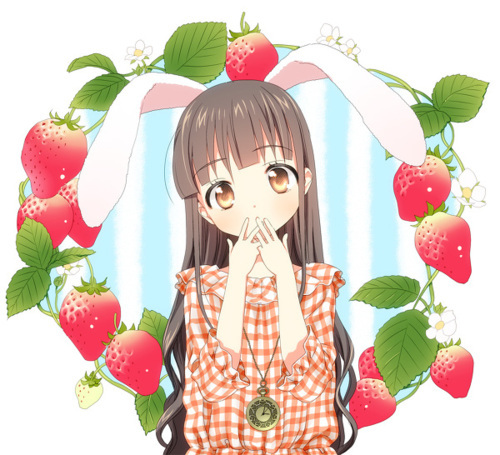 anime, bunny, cute, ears, girl, ichigo, kawaii, rabbit, strawberry