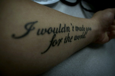 arm, for the world, i love you, love, sacrifice, tattoo, the world, trade, true