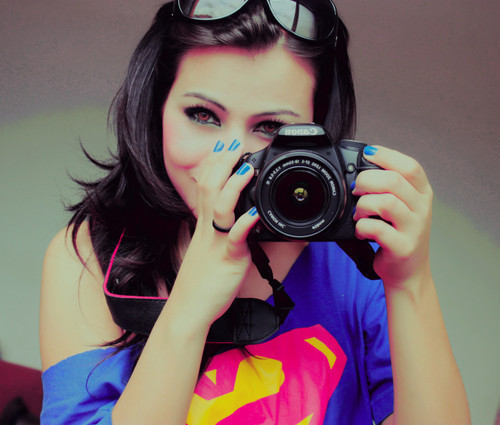 art, blue, brunette, camera, canon, cute, eyes, fashion, girl, hair, model, nails, photography, photoshop, pink, pretty, separate with comma, sunglasses, super man, tee shirt, yellow
