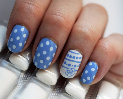 art, blue, cute, nail art, nail polish, nail varnish, nails, spots ...