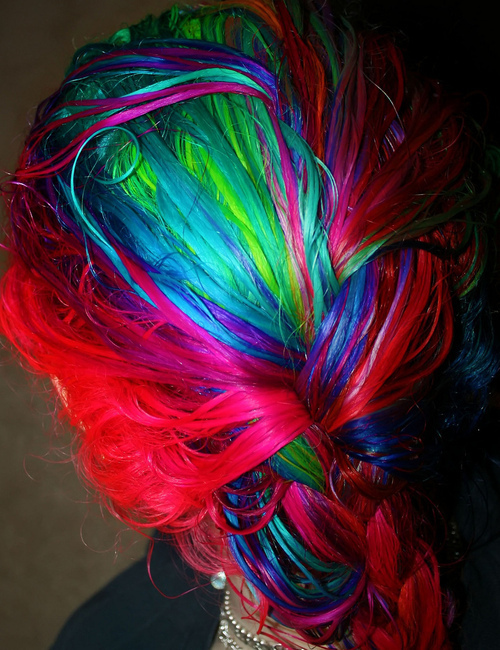awesome, blue, braid, green, hot, hot pink, neon, rainbow braid, rainbow hair, wet, wet hair, wow