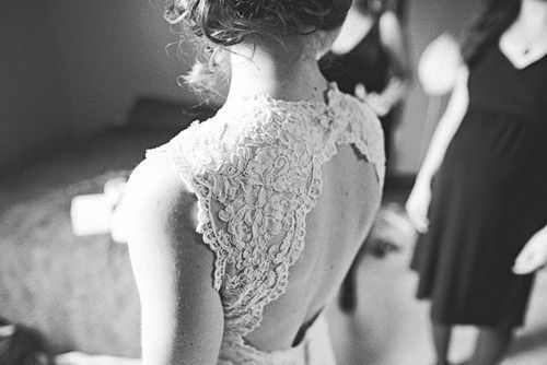 back, black and white, blackandwhite, girl, lace