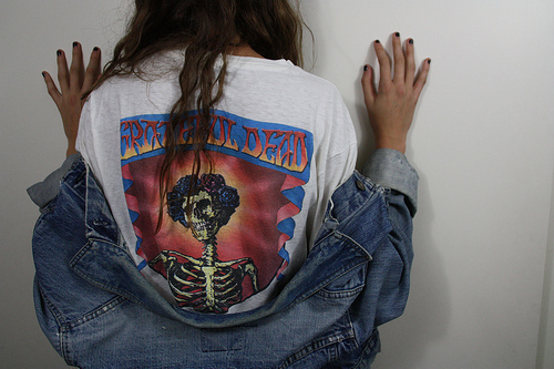 back, brunette, girl, jeans, nails, shirt, white