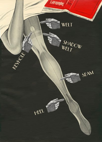 backseam, chart, cuban heel, fingers, hands, heel, hoisery, illustration, keyhole, ladylegs, legs, open book, pointing, red, seam, shadow, stockings, tights, vintage, welt