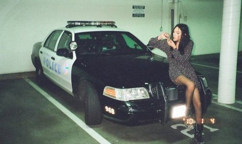 bad girl, fuck shit up, fuck the police, girl, illigal, lol, police car, smoke, weed