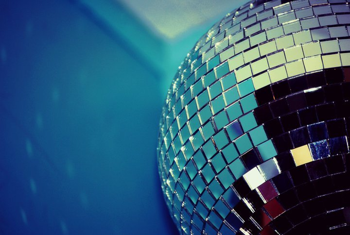 ball, blue, disco, light, mirror
