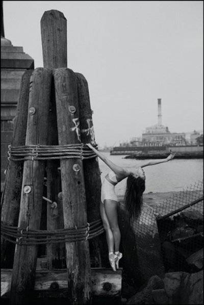 ballet, black and white, dance, dancer, fashion, girl, hair, harbour, photography, rocks, water, wood