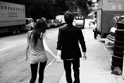 b&w, couple, cute, holding hands, love