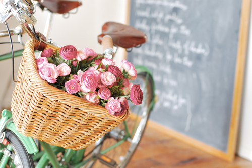 basket, bike, flowers, pink