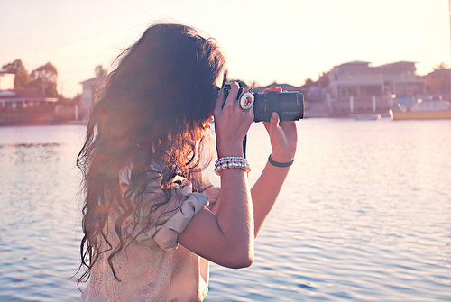 beach, beads, blue, bracelets, brown, brunette, camera, curls, faceless, fashion, girl, hair, ocean, orange, photography, pink, pretty, ring, separate with comma, water