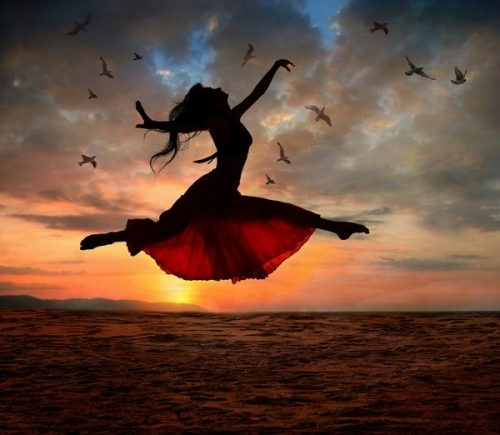 beach, beautiful, birds, clouds, dance, fly, fun, joy, jump, life, lively, lovely, nature, nostalgia, red skirt, romantic, sand, sky, sun, sunlight, sunset, sunshine