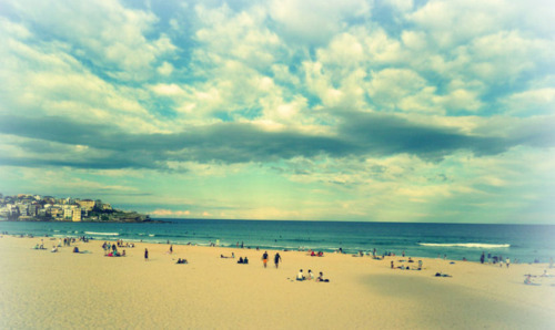 beach, bondi, clouds, landscape, sand, sky, summer, sun, surfing, waves