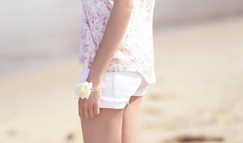 beach, bracelet, cream, floral, flower, girl, lady, model, ocean, paste, photo, photography, pink, rose, sand, separate with comma, shirt, water, white, woman