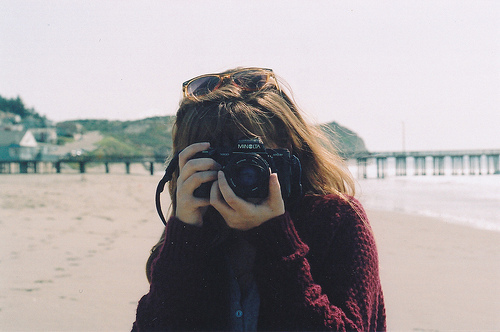 beach, camera, girl, hair, indie, paris, photography, pier, vintage