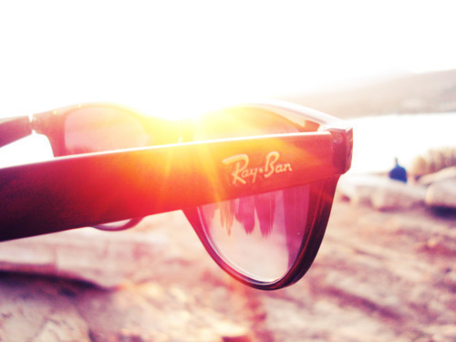 beach, glasses, rayban, shades, summer, sun, sunset