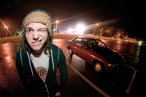 beanie, car, fish eye lens, guy, hot