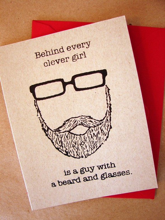 beard, girl, glasses