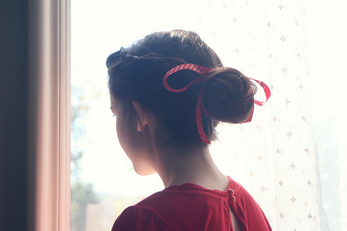 beautiful, beauty, bright, brunette, bun, fashion, girl, hair, hairstyle, lady, lovely, model, nice, photo, photography, pretty, red, ribbon, updo, woman