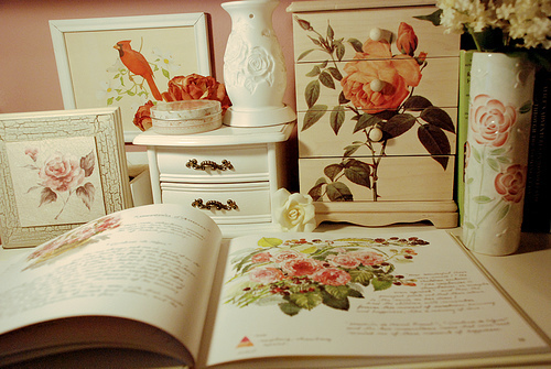beautiful, bird, book, cream, floral