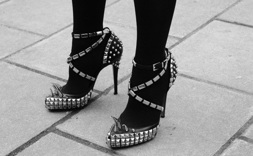 beautiful, black, black and white, fashion, girl, heel, heels, leather, model, shoe, spike, spikes, stud, studs