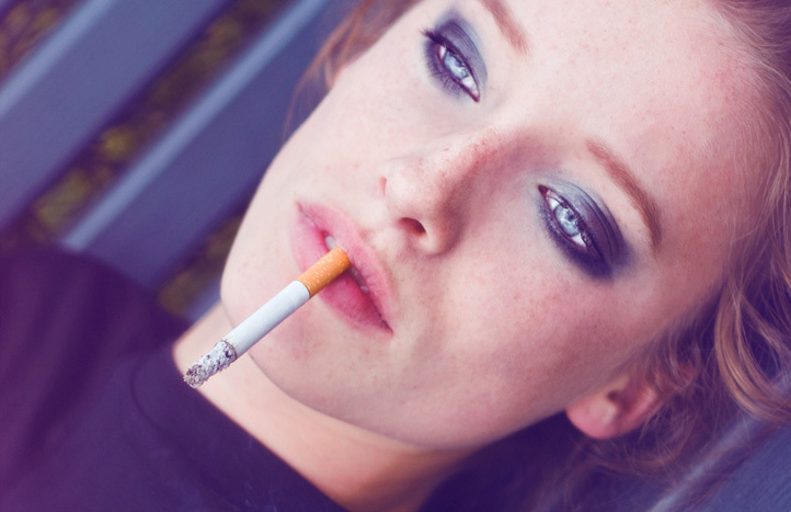 beautiful, blue eyes, cigarette, lips, separate with comma