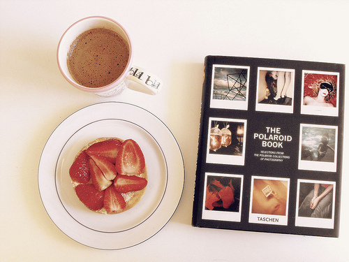 beautiful, book, breakfast, chocolate, coffee, food, fruit, fruits, lovely, nice, photo, photography, polaroid, pretty, snack, strawberries, strawberry