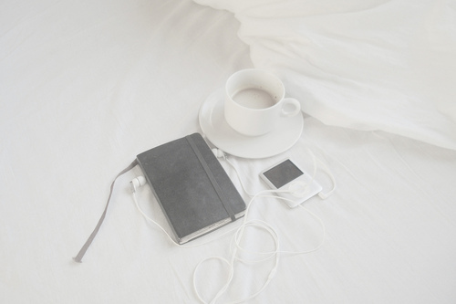 bed, black, book, coffee, cup, light, moleskine, morning, white