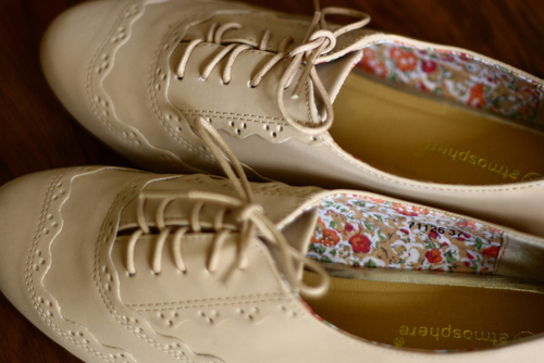 beige, beige shoes, cute, fashion, girly, oxford shoes, pretty, shoes, vintage