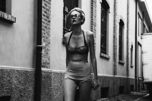 black and white, blonde, bra, fashion, film, fishnets, glasses, model, rosiecheekz, skinny, thin, undies, vintage, vintge