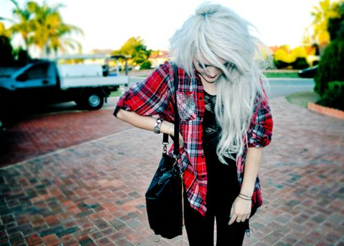 blonde, blue, girl, jeans, plaid, red, shirt, skinny, white