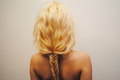blonde, hair, plait