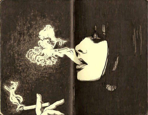 blow, book, cigarette, colours, drawing, girl, girls, hands, illustration, separate with comma, smoke, smoking, text