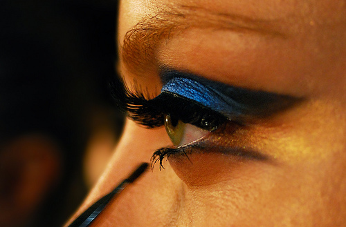 blue, eye liner, eyeshadow, falsies, lashes