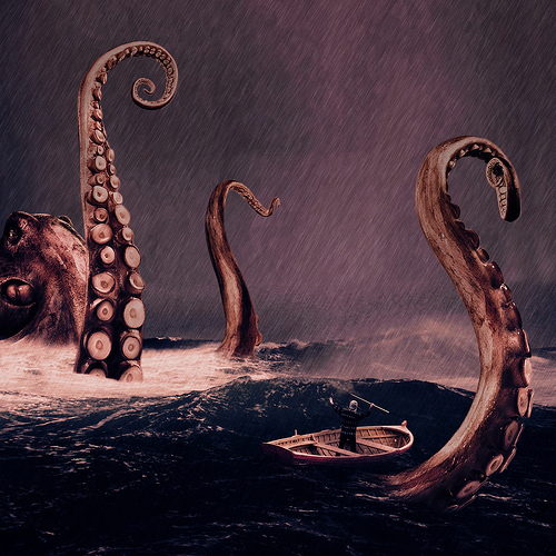 boat, ocean, octopus, rain, scary, sea monster, storm