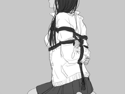 bondage, book, colours, drawing, girl, girls, hands, illustration, japanese bondage, text, anime/manga