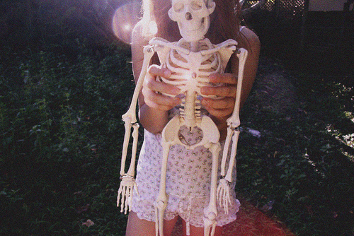 bones, girl, hipster, pretty, skeleton