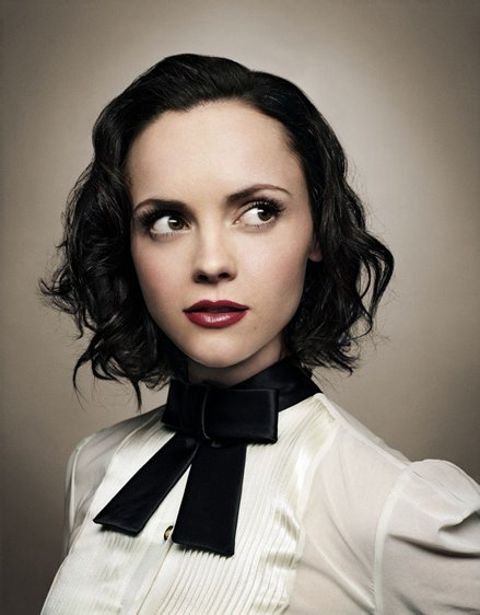 actress, bow tie, christina ricci, portrait, red lips